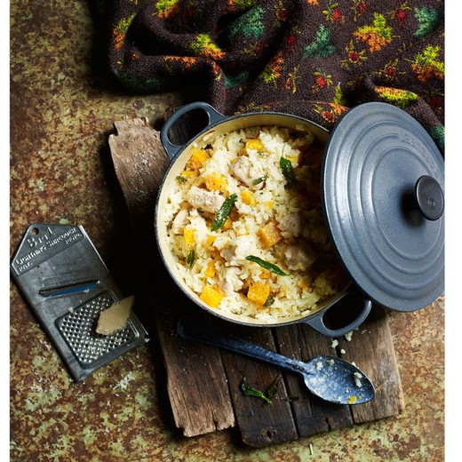 Baked chicken and butternut risotto - Chardonnay